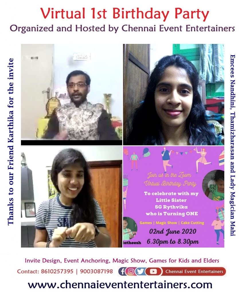 Remote Emcees Thamizh and Nandhini for Virtual Birthday Party through video conferencing 4