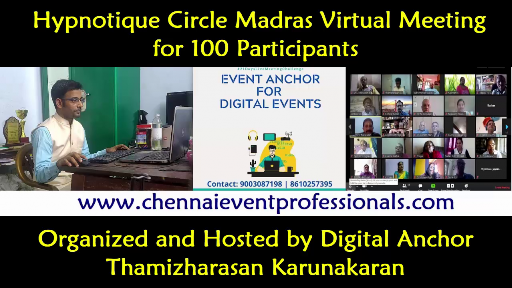 Virtual Conference of Hypnotique Circle Madras organized by Chennai Event Professionals