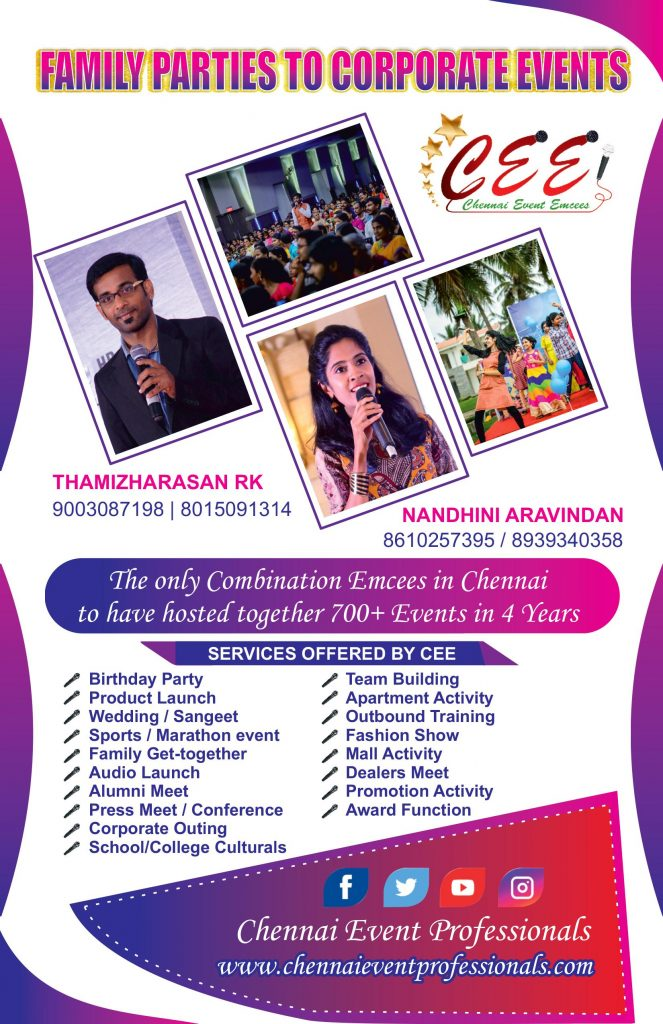 Chennai Event Emcees Entertainers and Professionals Virtual Event Emcees