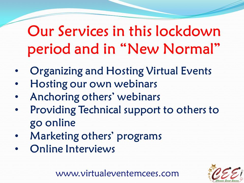 Services offered by Virtual Event Emcees in Lockdown Period