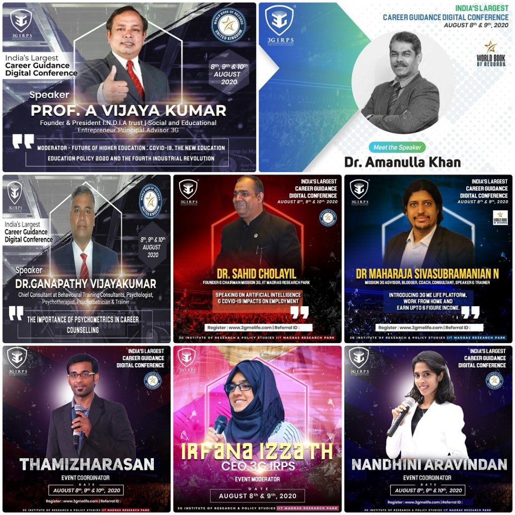 Career Guidance Digital Conference event coordinated by Virtual Emcee Thamizharasan and Nandhini Aravindan
