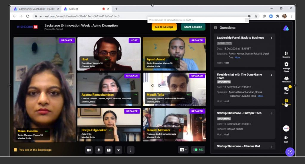 Virtual Conference Event in Airmeet Video conferencing Platform_Digital MC RK Thamizharasan