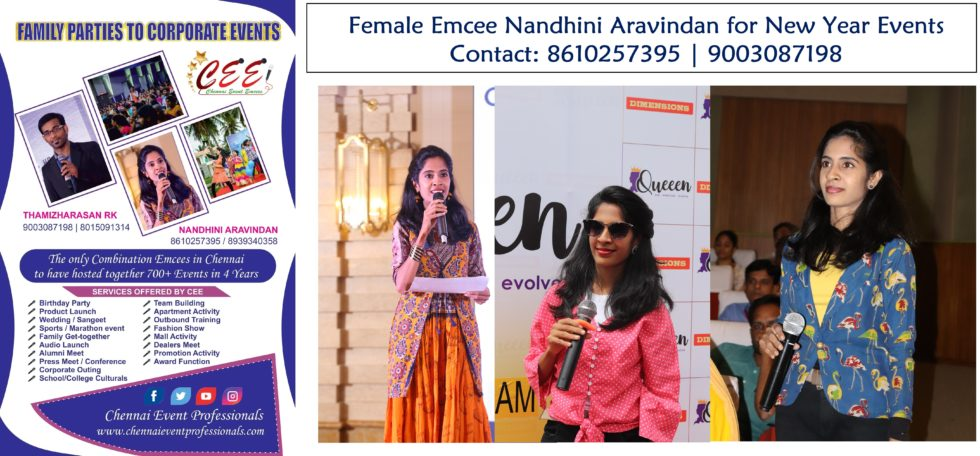 Virtual Female Emcee Nandhini Aravindan for Online New Year Party Events