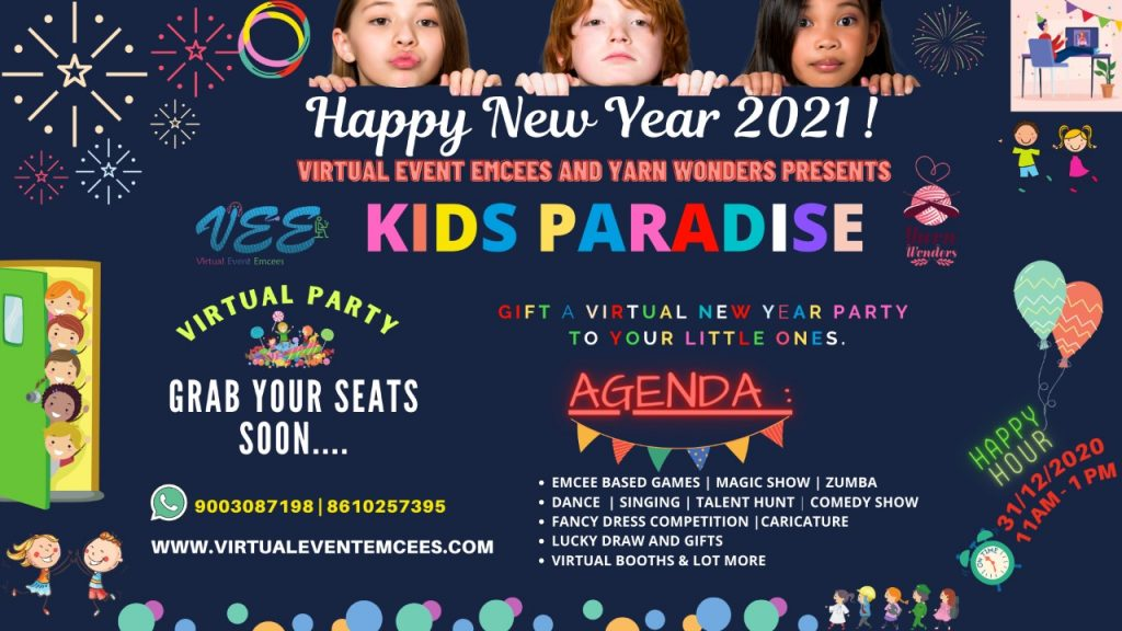 Virtual Event Emcees and Yarn Wonders Presents KIDS PARADISE VIRTUAL NEW YEAR PARTY 2021