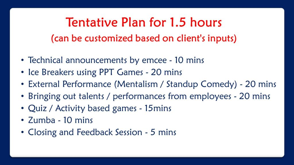 Corporate Online Fun Activities Plan by Virtual Event Emcees and Entertainers