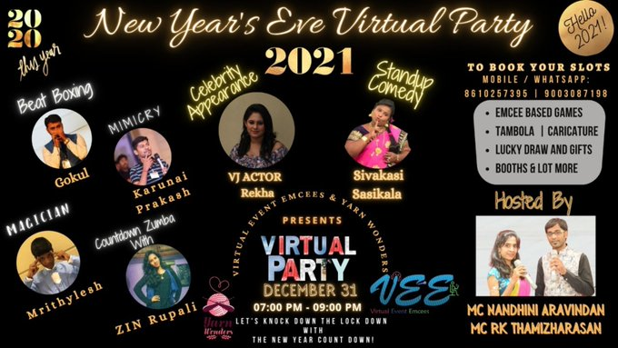 Virtual New Year Party Events organized by Chennai Event Emcees Entertainers and Professionals